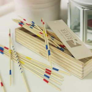 The TRENDS Pick Up Sticks Game is a classic game of dominoes in a wooden box with sliding lid. Branded eco promotional products from TRENDS.