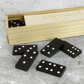 The TRENDS Dominoes Game is a classic game of dominoes in a wooden box with sliding lid.  Branded eco promotional products from TRENDS.