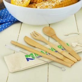 The TRENDS Bamboo Cutlery Set is an eco friendly cutlery set. Print or transfer branding. Cotton drawstring bag. Great enviromentally friendly promotions.