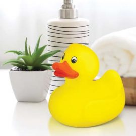 The TRENDS Rubber Duck is a classic floating rubber duck that squeaks when squeezed.  Yellow.  Great branded novelty promotional products from TRENDS.