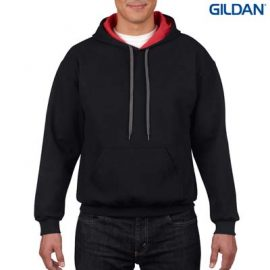 The Gildan Adult Contrast Hooded Sweatshirt is a 50% cotton contrast jersey lined hooded hoodie. 6 colours.  S - 3XL.  Great branded contrast hoodies.