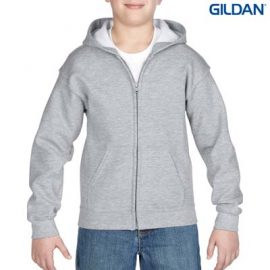The Gildan Youth Full Zip Hooded Sweatshirt is a 50% cotton, 279gsm semi fitted zip hoodie.  6 - 14.  7 colours.  Great branded zip hoodies from Gildan.