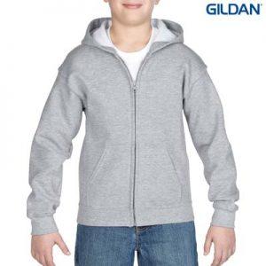 The Gildan Youth Full Zip Hooded Sweatshirt is a 50% cotton, 279gsm semi fitted zip hoodie. 6 - 14. 7 colours. Great branded zip hoodies from Gildan.