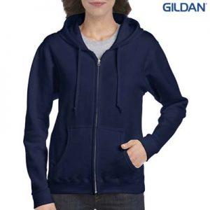 The Gildan Ladies Full Zip Hooded Sweatshirt is a 50% cotton, 279gsm semi fitted zip hoodie. 8 - 18. 4 colours. Great branded zip hoodies from Gildan.