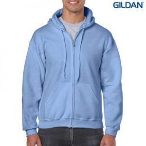 The Gildan Adult Full Zip Hooded Sweatshirt is a 50% cotton, 279gsm hoodie. S - 3XL. 8 colours. Great branded zip hoodies from Gildan.