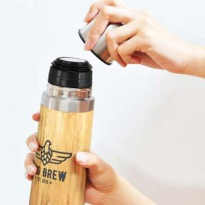 The TRENDS Bamboo Flask is a 500ml nature-inspired double wall flask with bamboo outer wall.  Natural.  Great branded double wall flasks from TRENDS.