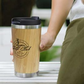 The TRENDS Bamboo Double Wall Cup is a nature inspired double wall coffee cup with bamboo outer wall.  Natural.  Great eco promotional products.