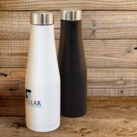 The TRENDS Velar Vacuum Bottle is a compact 500ml double wall, vacuum stainless steel drink bottle. Black or White. Great branded insulated bottles.