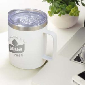 The TRENDS Zeus Vacuum Cup is a premium 400ml double wall, vacuum, insulated stainless steel coffee cup. White or Black. Great branded vacuum cups.