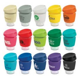 The TRENDS Nova Cup - Tritan 340ml is a sophisticated coffee cup with push on silicone lid and heat resistant band.  15 colours.  Great branded drinkware.
