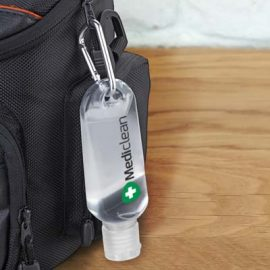 The TRENDS Carabiner Hand Sanitiser 55ml is a gel hand sanitiser in convenient tube with flip cap and carabiner clip. Great branded hand sanitisers.