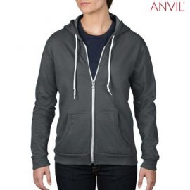 The Anvil Ladies Full Zip Hooded Sweatshirt is a 245gsm, 75% combed ring spun cotton zip hoodie.  5 colours.  S - 2XL.  Great branded zip hoodies from Anvil.
