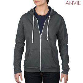 The Anvil Ladies Full Zip Hooded Sweatshirt is a 245gsm, 75% combed ring spun cotton zip hoodie. 5 colours. S - 2XL. Great branded zip hoodies from Anvil.