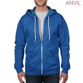 The Anvil Adult Full Zip Hooded Sweatshirt is a 245gsm, 75% combed ring spun cotton zip hoodie. 5 colours. S - 3XL. Great branded zip hoodies from Anvil.
