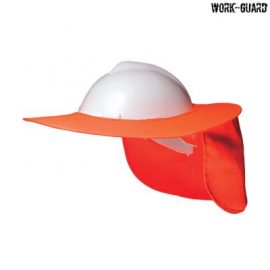 The Work-Guard Hard Hat Protective Brim is a 100% polyester shade brim.  Yellow or Orange.  One size.  Great branded hi vis protective brims.
