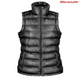 The Result Urban Ladies Snowbird Hooded Vest is a relaxed fix puffer vest.  S - 3XL.  Black or Navy.  Great branded puffer vests from Result.