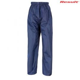 The Result Core Rain Trousers are a casual fit, StormDri polyester, rain trouser. Black or Navy. S - 5XL. Great branded rain trousers from Result.