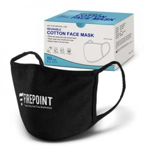 The TRENDS Reusable Cotton Face Mask is a comfortable face masked that can be reused by hand washing.  Black.  One colour print.  Great branded face masks.