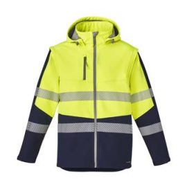 The Syzmik Streetworx 2 in 1 Stretch Softshell is a bonded polyester, 330gsm softshell jacket.  2 colours. XXS - 7XL.  Great hi vis softshells and workwear from Syzmik.