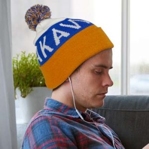 The TRENDS Kenai Custom Fitted Beanie is a fully customised jacquard knitted acrylic beanie with folded cuff and pompom. Great branded custom beanies.