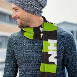 The TRENDS Fairbanks Custom Knitted Scarf is a fully customised jacquard knitted acrylic scarf with tassels. Great custom branded scarves for all occasions.