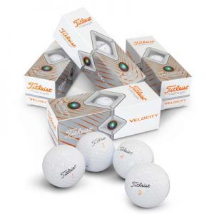 The Titleist Velocity Golf Balls are aerodynamically engineered golf balls. Boxes of 3 in a box of 12. White balls. Great branded golf balls brought to you by TRENDS.