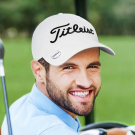 The Titleist Performance Ball Marker Cap is a stylish, functional, 6 panel cap.  Moisture wicking performance material.  White.  Can be co - branded.  Great golf caps.