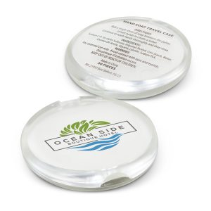 The TRENDS Hand Soap Travel Case is a round compact polypropylene case with 30 sheets of soap. Full colour branding available. Great branded travel & health products.