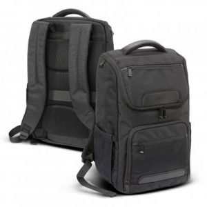 The Swiss Peak Voyager Laptop Backpack is a smart corporate backpack, with large compartment and 2 slip pockets.  Embroidery available.