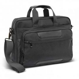 The Swiss Peak Voyager Laptop Bag is a stylish laptop bag that fits a 15inch laptop. Black. Embroidery services available to add your logo.