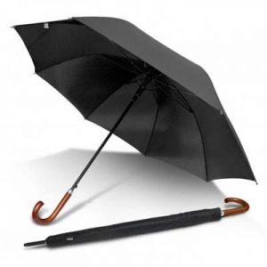 The PEROS Executive Umbrella is an XL 8 panel umbrella. Auto opening with velcro tie. Wood hook handle. Print or transfer available.