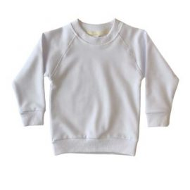 The Baby Blanks Winter Crew is a 100% cotton, elastane, unbrushed fleece. 6 colours. Size 1 - 5. Generous fit. Good length. Great printable kids crews.
