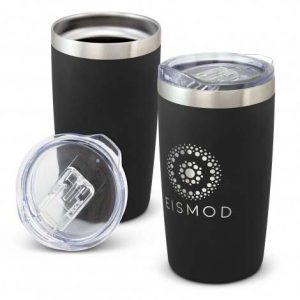 The TRENDS Prodigy Vacuum Cup is a 600ml double wall, vacuum insulated stainless steel cup. Powder Coated. Black. Branded with your logo.