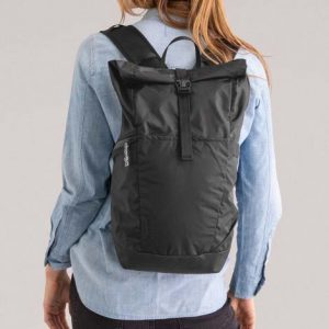 The Camelbak Pivot Roll Top Backpack is a lightweight, versatile commuter backpack. Black. Made from 50% recycled material. Co branded with your logo.